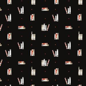 Laura Ashley Oxford Collection Dotty Books in Black Fabric 0.5m