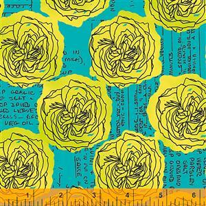 Norma Rose Kitchen Bouquet on Turquoise Fabric 0.5m