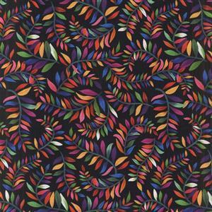 Colorido Multi Leaves Black Fabric 0.5m