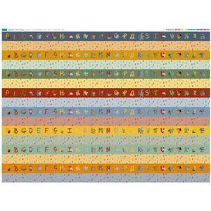 Illustrated Animal Alphabet Strips Fabric Panel (140 x 109cm)