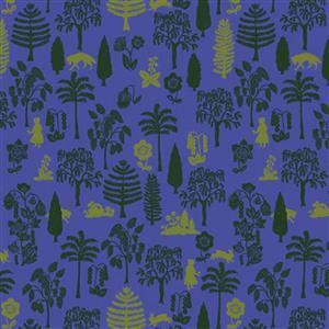 Woodland Walk Nearby Wolf in Royal Fabric 0.5m