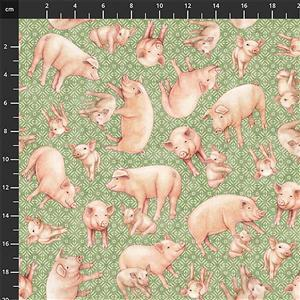 Green Pastures Pigs on Green Fabric 0.5m