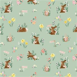 Riley Blake Easter Egg Hunt Bunny Mint Fabric 0.5m