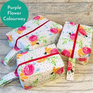 Living in Loveliness Beatrice Boxy Make Up Bag Trio, Purple Flower: 2 x 0.5m Fabric, 3/4m Heavyweight Interfacing, 3 x Zips (makes 3 sizes)