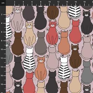 Fluffy Raffi Cats on Grey Fabric 0.5m