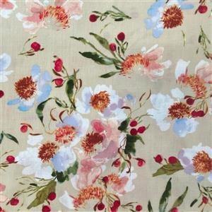 Wildflower Clair De Lune on Almond Fabric 0.5m