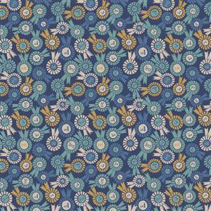 Lewis & Irene Farley Mount Rosettes On Dark Blue Fabric 0.5m