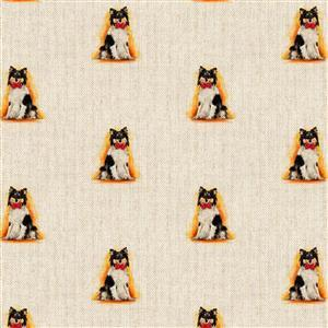 Sheep Dog All Over Linen Look Fabric 0.5m