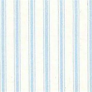 Blue Stripes on White Cotton Poplin Fabric 0.5m