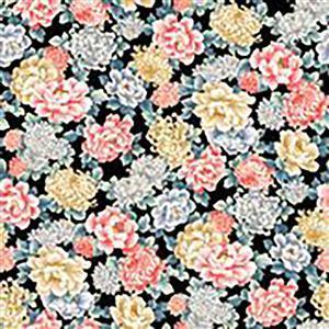 Niwa in Multi Rose on Black Fabric 0.5m