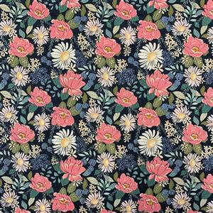 Country Roads Pink Blossoms on Navy Fabric 0.5m