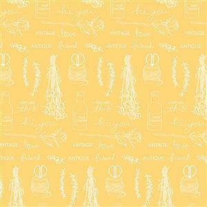 Riley Blake Idyllic Motifs Yellow 0.5m