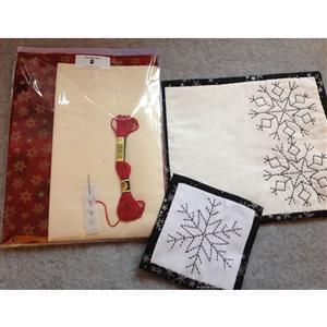 Sew with Beth Snowflake Sashiko Tableware Gold & Red 2 x Coasters & 2 x Placemats