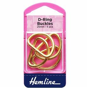 Gold 25mm D Rings 4 Pieces
