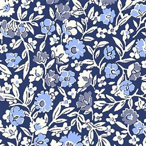 Liberty Orchard Garden Collection Midnight Blue Primula Dawn Fabric 0.5m