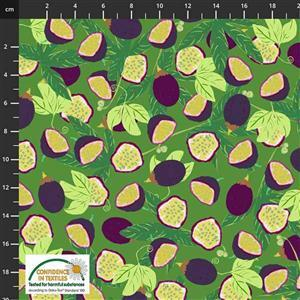 Garden Passion Leafy Fruit on Green Fabric 0.5m