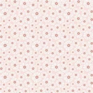 Daisy Mae Country Life Daisy's on White Fabric 0.5m