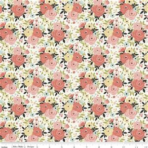 Riley Blake Joy In The Journey Cream Floral Fabric 0.5m