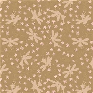 Lewis & Irene Fairy Clocks Fairies On Brown Fabric 0.5m