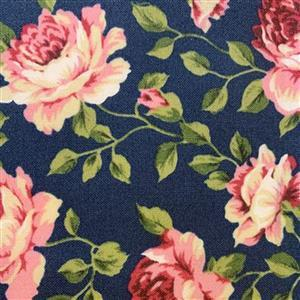 Country Floral Pink Peony on Navy Fabric 0.5m Exclusive