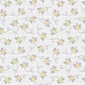Little Critters Bees On Light Grey Fabric 0.5m
