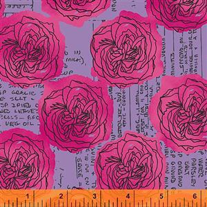 Norma Rose Kitchen Bouquet on Lavender Fabric 0.5m