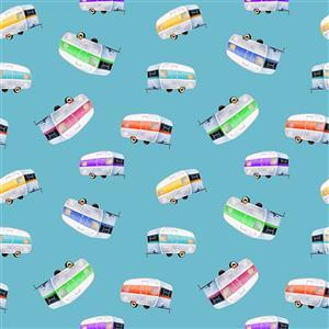 Retro Campers in Floating Caravans on Blue Fabric 0.5m