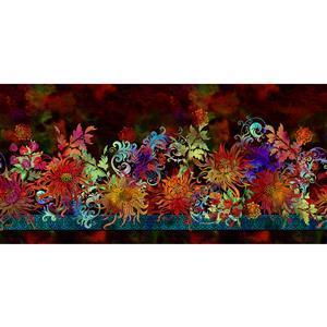 Floragraphix V by Jason Yenter Floral on Burgundy Fabric 0.5m