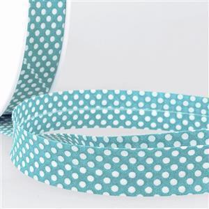 Bias Binding Cotton in Dot Steel Blue 20mm x 1m