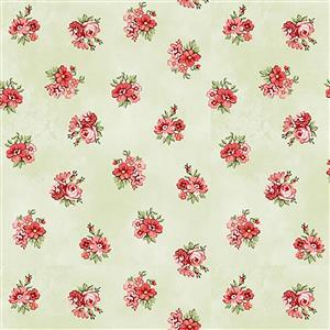 Henry Glass Violet's Garden in Green Floral Fabric 0.5m