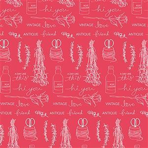 Riley Blake Idyllic Motifs Raspberry Fabric 0.5m