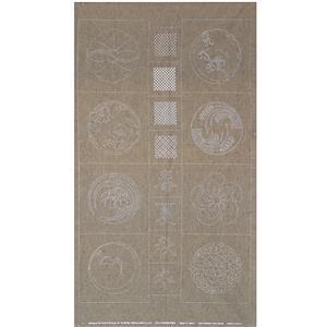 Sashiko Tsumugi Preprinted Kamon 20 Grey Fabric Panel 108x61cm