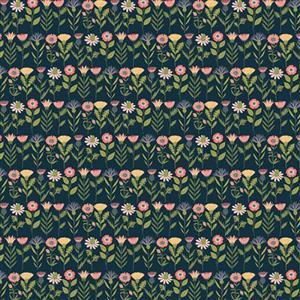 Daisy Mae Country Life Flowers on Navy Fabric 0.5m