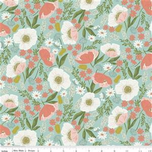 Riley Blake Tea With Bea Sky Floral Fabric 0.5m