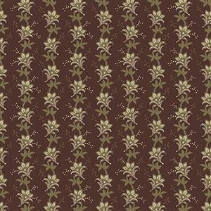 Wildflower Woods in Ash Leaves on Brown Fabric 0.5m