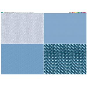 Misty Blue Fat Quarter Fabric Panel Set 1 - 140 x 108cm