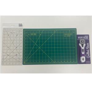 Quilters Starter Set. A3 Cutting Mat, Rotary Cutter & Ruler