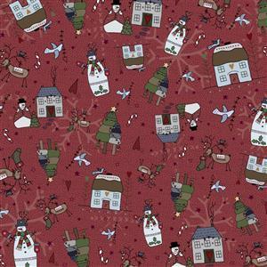 Lynette Anderson Peace & Joy Winters Night On Berry Fabric 0.5m