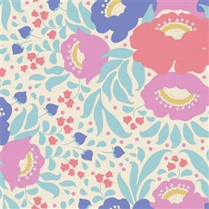 Tilda Plum Garden in Autumn Bouquet Teal Fabric 0.5m