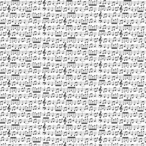 Music Notes On White Fabric 0.5m