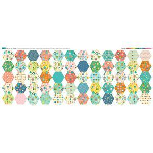 Time for Tea Bright 60 Hexies Large Fabric Panel 140x59cm