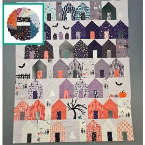 Tiny Treaters Halloween in Quiltsburgh Quilt Kit (55 x 66.5 inches): Instructions, Charm Pack, FQ Pack (3pcs) & Fabric (2m)