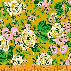 Posy Bright Big Roses On Olive Fabric 0.5m