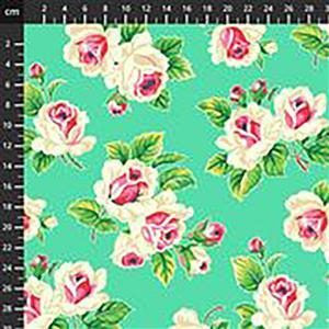 True Kisses Rose Bunch on Green Fabric 0.5m