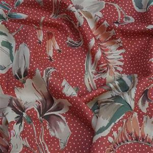 Showering Vine Salmon Pink Viscose Challis Lawn Fabric 0.5m