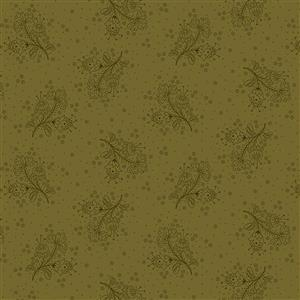 Henry Glass Esters Heirloom Shirtings Green Floral Sprays Fabric 0.5m