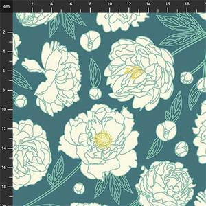 Primavera Large Floral on Teal Fabric 0.5m