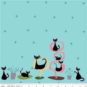 Riley Blake Mod Meow Lazy Cats Cottage Fabric 0.5m