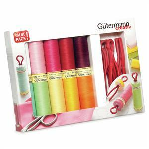 Gutermann Sew-All Thread Set. 10 x 100m plus 10 Bobbin Clips