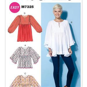 Misses' Gathered Tops & Tunic Pattern (L-XXL)
